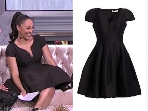 tamera mowry, the real, black cap sleeve flare dress