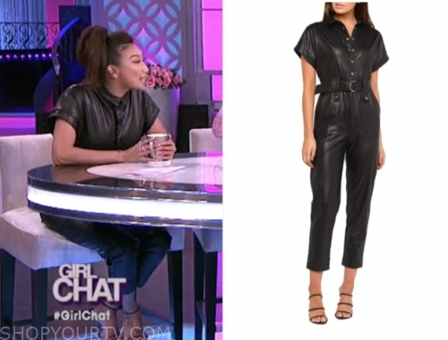 jeannie mai, the real, black leather jumpsuit