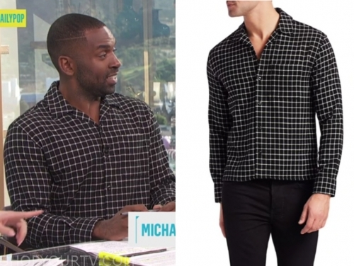 justin sylvester, black and white grid shirt, E! news, daily pop