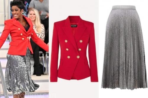 tamron hall, tamron hall show, red blazer, silver skirt,