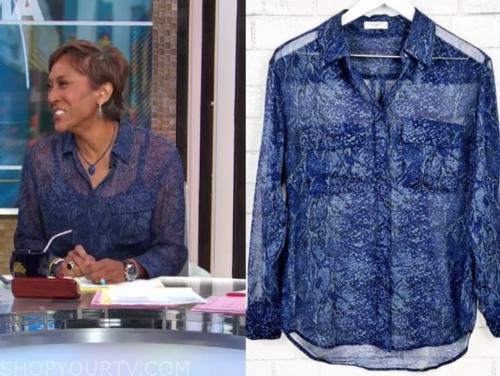 robin roberts, blue snakeskin blouse, gma