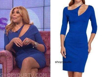 wendy williams, blue slash cutout dress, the wendy williams show