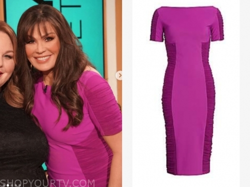 marie osmond, the talk, purple ruched dress