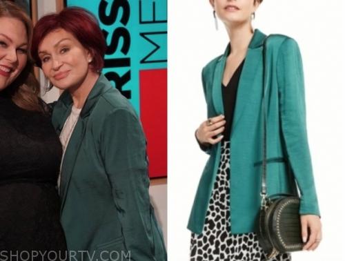 sharon osbourne, the talk, green satin blazer