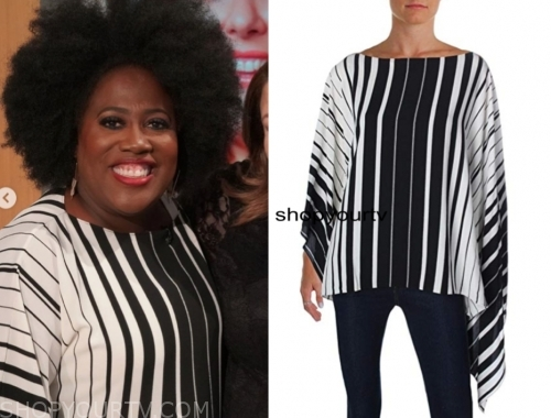sheryl underwood, the talk, black and white stripe top