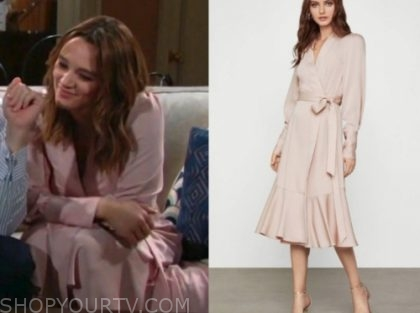summer newman, hunter king, blush pink dress, the young and the restless