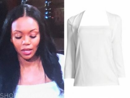 mishael morgan, amanda sinclair, the young and the restless, white square neck top