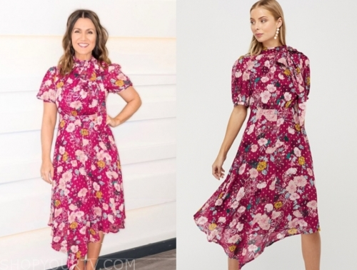 susanna reid, pink floral midi dress, good morning britain