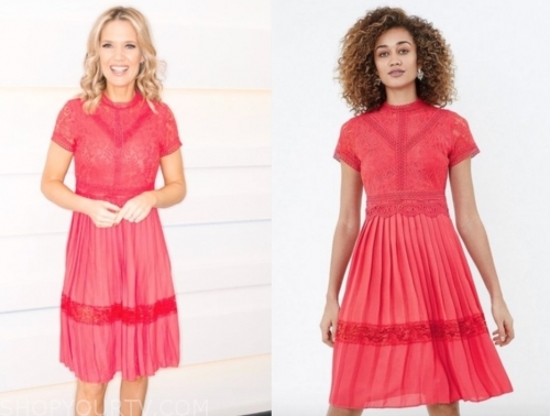 charlotte hawkins, good morning britain, coral lace pleated dress