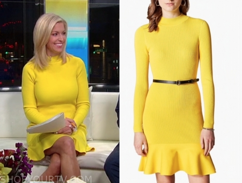 ainsley earhardt, fox and friends, yellow knit dress