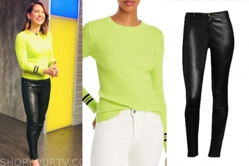 ginger zee, lime green sweater, black leather pants, gma