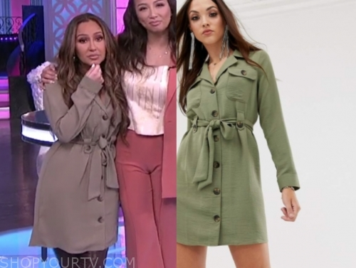 adrienne bailon, green shirt dress, the real