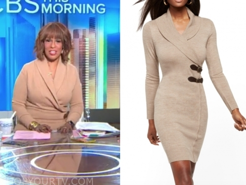 gayle king, cbs this morning ,beige sweater dress