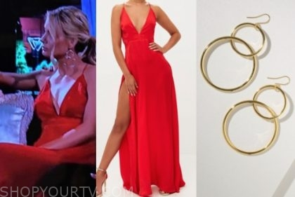 victoria p., the bachelor, red maxi dress, gold hoop earrings