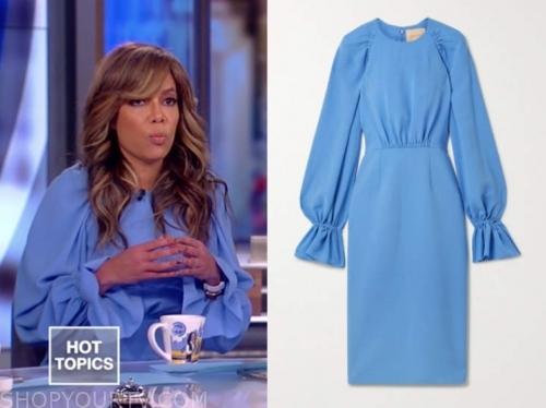sunny hostin, blue gathered sleeve dress, the view