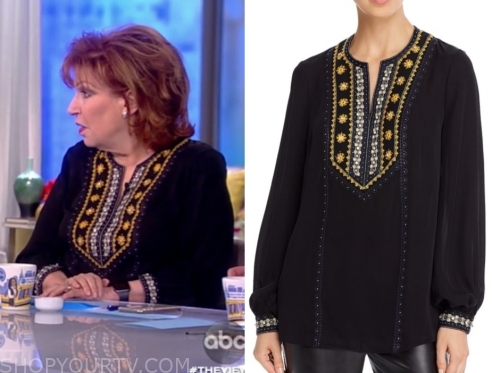 joy behar, the view, embellished peasant blouse
