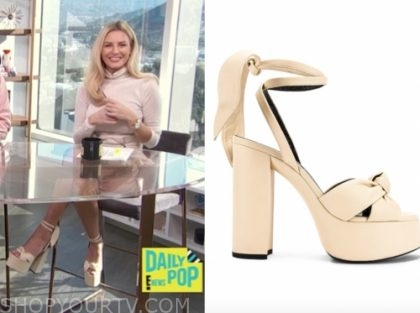 morgan stewart, E! news, daily pop, beige platform sandals
