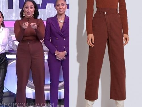 tamera mowry, the real, brown pants