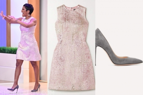 tamron hall, tamron hall show, pink metallic dress, grey suede heels