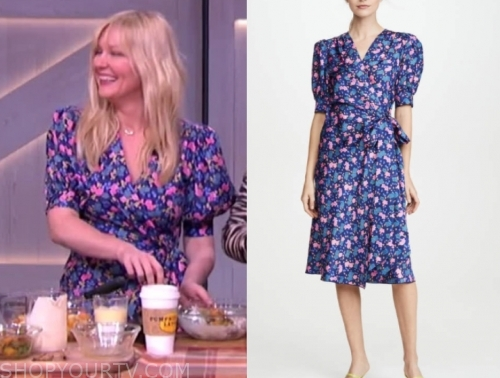 kirsten dunst, the kelly clarkson show, blue and pink floral wrap midi dress