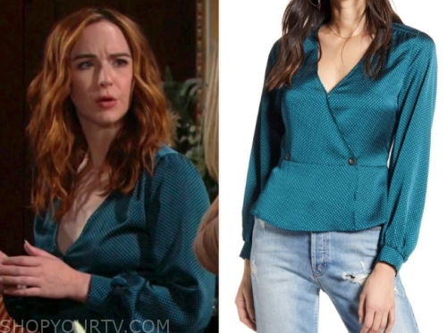 the young and the restless, mariah copeland, teal blouse top, camryn grimes