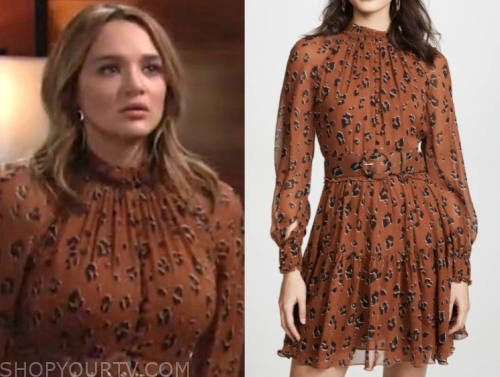 summer newman, hunter king, leopard dress, the young and the restless