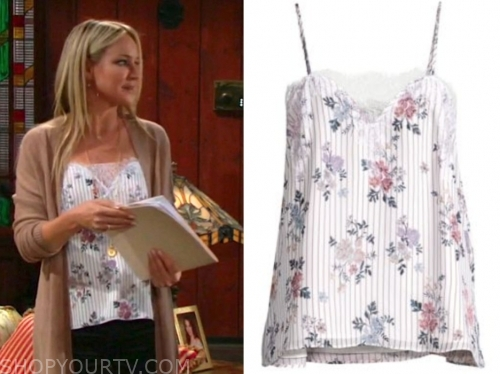 sharon newman, sharon case, the young and the restless, striped lace camisole