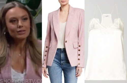 abby newman, melissa ordway, pink blazer, white camisole top, the young and the restless