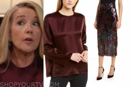nikki newman, the young and the restless, melody thomas scott, burgundy satin blouse, sequin pencil skirt