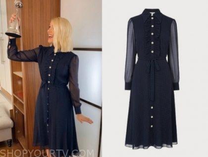 this morning, holly willoughby, polka dot midi dress