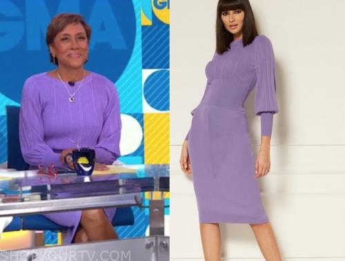 robin roberts, lilac purple knit dress, gma