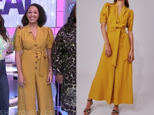 tamera dowry, the real, yellow jumpsuit