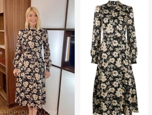 this morning, holly willoughby, floral mock neck midi dress