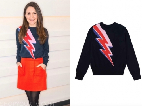 laura tobin, gmb, lightning bolt sweater