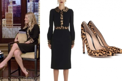 kelly ripa, black and leopard dress, leopard pumps, live with kelly and ryan