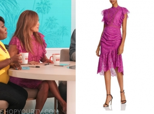 carrie ann inaba, the talk, purple lace dress