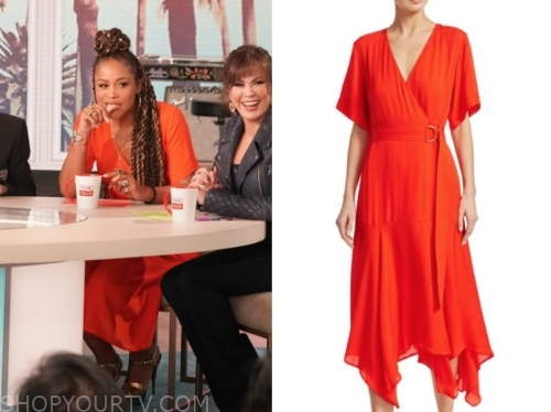 eve's red wrap dress, the talk