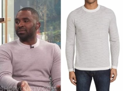 justin sylvester, E! news, daily pop, lilac striped sweater