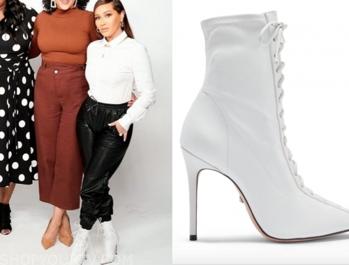 adrienne bailon, white lace-up booties, the real
