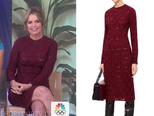 savannah guthrie, the today show, burgundy knit dress