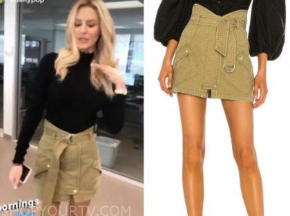morgan stewart, E! news, daily pop, green belted mini skirt