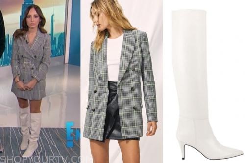 lilliana vazquez, E! news, plaid blazer dress, white boots