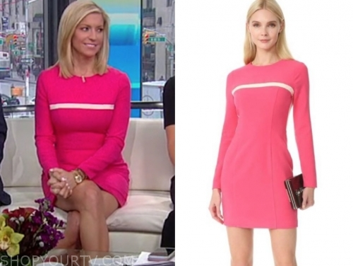 ainsley earhardt, fox and friends, pink and white stripe dress