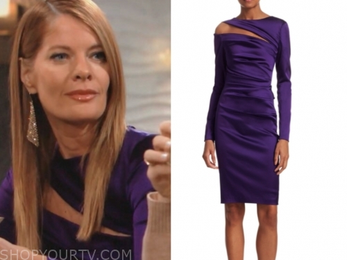 phyllis newman, the young and the restless, michelle stafford, purple cutout dress