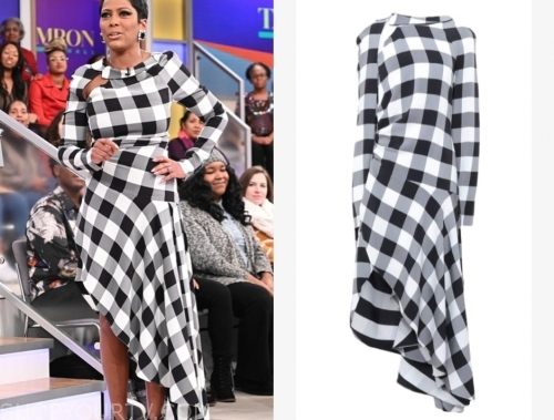 tamron hall, tamron hall show, black and white check asymmetric dress