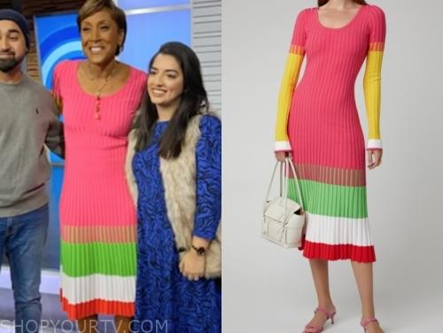 robin roberts, knit ribbed colorblock midi dress, gma