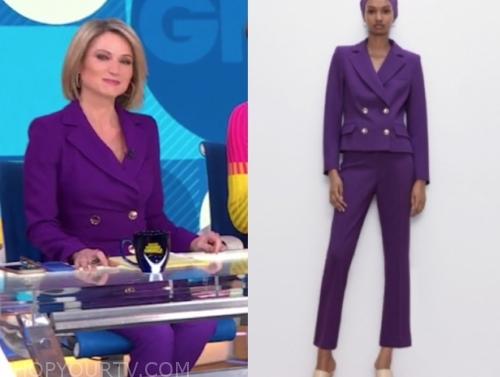 amy robach, purple pant suit, gma
