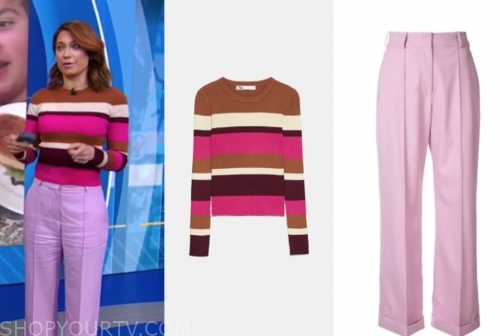 ginger zee, gma, striped sweater, pink pants