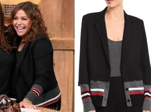 rachael ray, the rachael ray show, mixed media stripe blazer