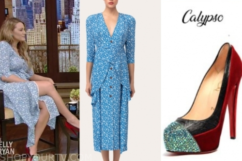 blake lively, live with kelly and ryan, blue floral dress, red cap toe heels